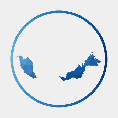 Malaysia icon. Polygonal map of the country in gradient ring. Round low poly Malaysia sign. Vector illustration.