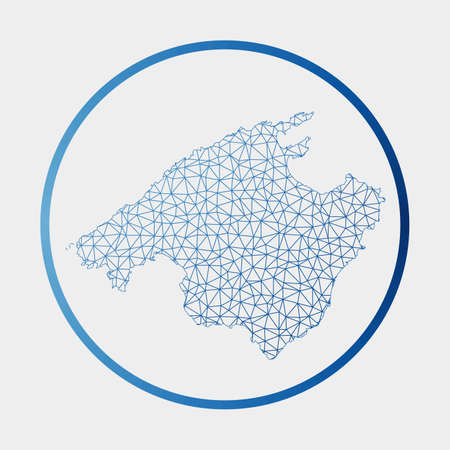 Majorca icon. Network map of the island. Round Majorca sign with gradient ring. Technology, internet, network, telecommunication concept. Vector illustration. 向量圖像