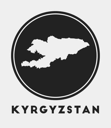 Kyrgyzstan icon. Round circle with country map and title. Stylish Kyrgyzstan badge with map. Vector illustration.