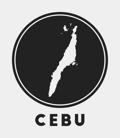 Cebu icon. Round circle with island map and title. Stylish Cebu badge with map. Vector illustration. 向量圖像