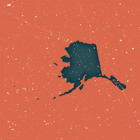 Alaska vintage map. Grunge map of the us state with distressed texture. Alaska poster. Vector illustration.