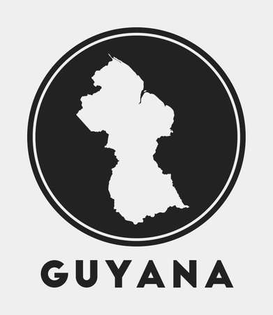 Guyana icon. Round circle with country map and title. Stylish Guyana badge with map. Vector illustration.
