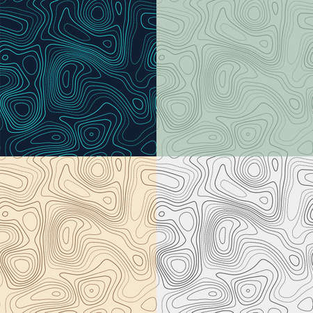 Topography patterns. Seamless elevation map tiles. Authentic isoline background. Cool tileable patterns. Vector illustration.