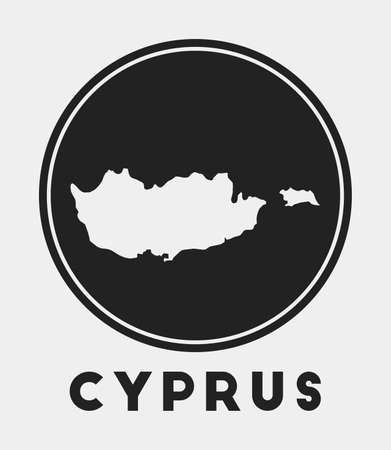 Cyprus icon. Round circle with country map and title. Stylish Cyprus badge with map. Vector illustration.