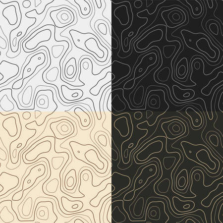 Topography patterns. Seamless elevation map tiles. Amazing isoline background. Artistic tileable patterns. Vector illustration.