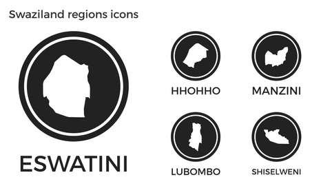 Swaziland regions icons. Black round logos with country regions maps and titles. Vector illustration.