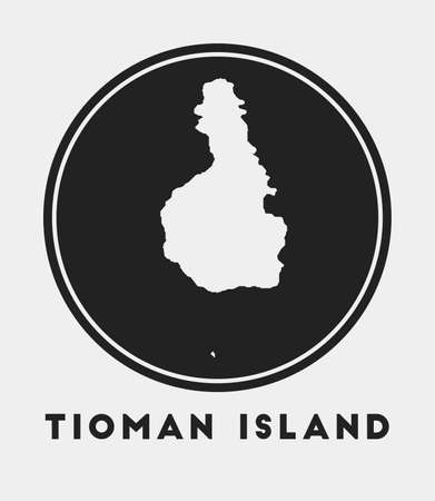 Tioman Island icon. Round circle with island map and title. Stylish Tioman Island badge with map. Vector illustration.