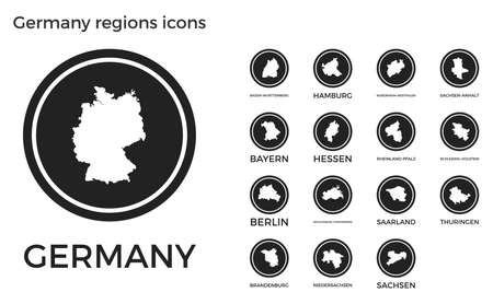 Germany regions icons. Black round circle with country regions maps and titles. Vector illustration.