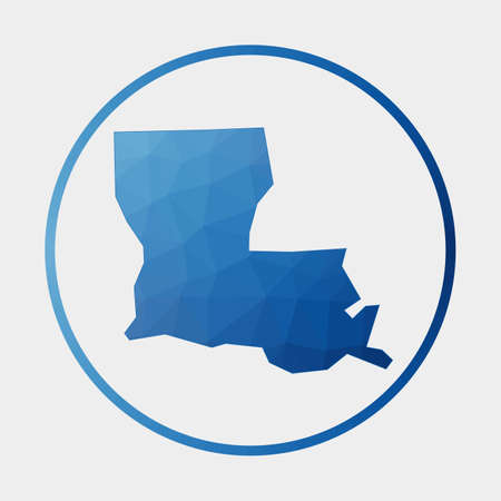 Louisiana icon. Polygonal map of the us state in gradient ring. Round low poly Louisiana sign. Vector illustration.