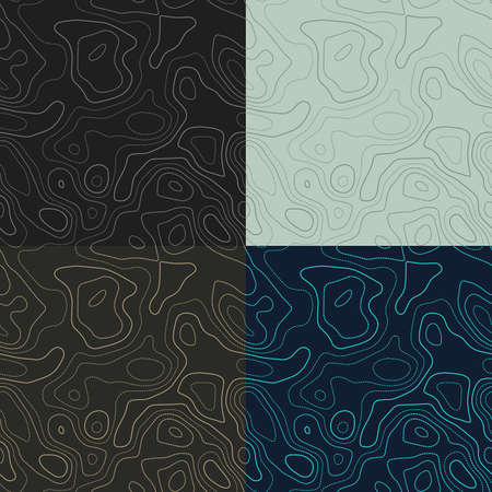 Topography patterns. Seamless elevation map tiles. Amazing isoline background. Authentic tileable patterns. Vector illustration.