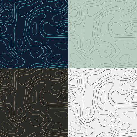 Topography patterns. Seamless elevation map tiles. Beautiful isoline background. Attractive tileable patterns. Vector illustration.