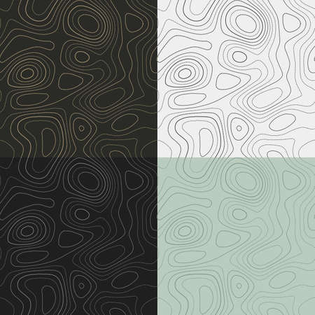 Topography patterns. Seamless elevation map tiles. Captivating isoline background. Classy tileable patterns. Vector illustration. 向量圖像