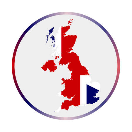United Kingdom icon. Shape of the country with United Kingdom flag. Round sign with flag colors gradient ring. Creative vector illustration.