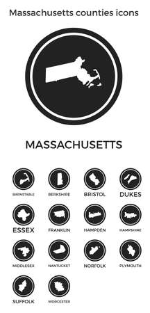 Massachusetts counties icons. Black round circle with us state counties maps and titles. Vector illustration.