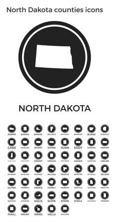 North Dakota counties icons. Black round circle with us state counties maps and titles. Vector illustration.