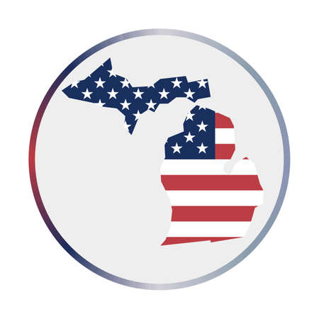 Michigan icon. Shape of the us state with Michigan flag. Round sign with flag colors gradient ring. Captivating vector illustration. Ilustração