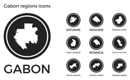 Gabon regions icons. Black round circle with country regions maps and titles. Vector illustration.