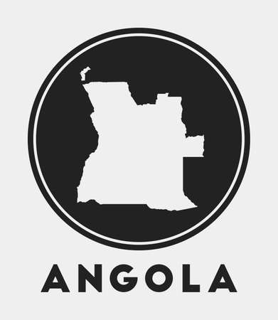 Angola icon. Round circle with country map and title. Stylish Angola badge with map. Vector illustration.