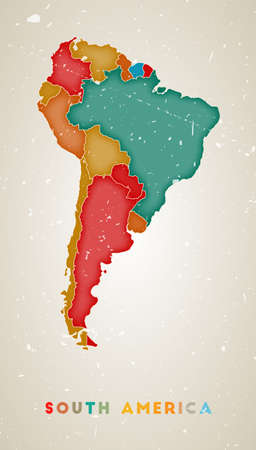 South America map. Continent poster with colored regions. Old grunge texture. Vector illustration of South America with continent name.