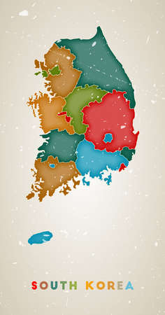 South Korea map. Country poster with colored regions. Old grunge texture. Vector illustration of South Korea with country name.