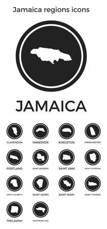 Jamaica regions icons. Black round circle with country regions maps and titles. Vector illustration.