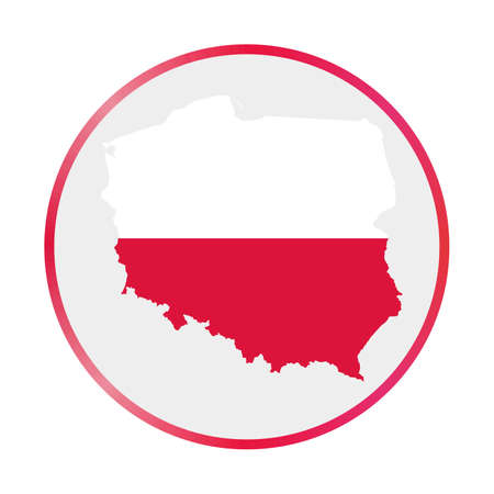 Poland icon. Shape of the country with Poland flag. Round sign with flag colors gradient ring. Elegant vector illustration.