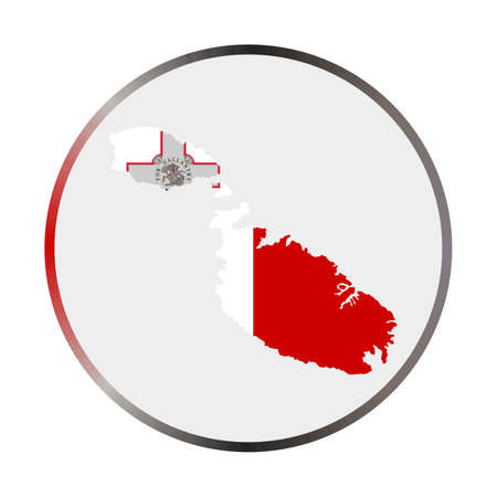 Malta icon. Shape of the island with Malta flag. Round sign with flag colors gradient ring. Appealing vector illustration.