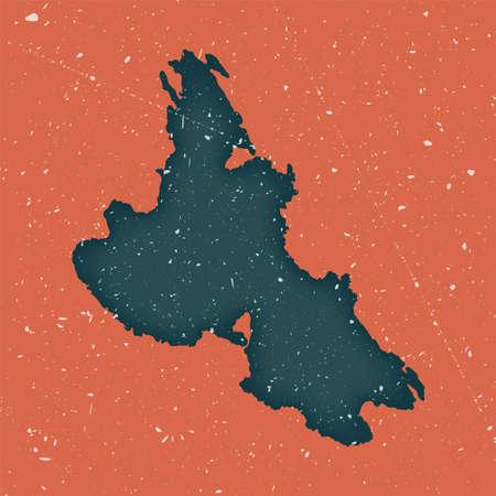 Krk vintage map. Grunge map of the island with distressed texture. Krk poster. Vector illustration. Vektoros illusztráció