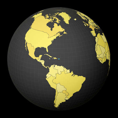 Puerto Rico on dark globe with yellow world map. Country highlighted with blue color. Satellite world projection centered to Puerto Rico. Powerful vector illustration.