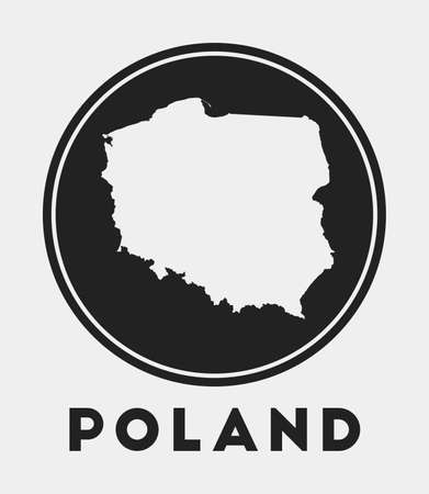 Poland icon. Round logo with country map and title. Stylish Poland badge with map. Vector illustration.