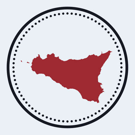 Sicilia round stamp. Round logo with island map and title. Stylish minimal Sicilia badge with map. Vector illustration.