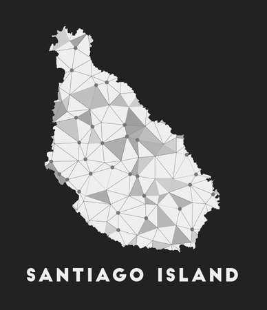 Santiago Island - communication network map of island. Santiago Island trendy geometric design on dark background. Technology, internet, network, telecommunication concept. Vector illustration.