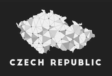 Czech Republic - communication network map of country. Czech Republic trendy geometric design on dark background. Technology, internet, network, telecommunication concept. Vector illustration.
