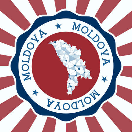 Moldova Badge. Round logo of country with triangular mesh map and radial rays