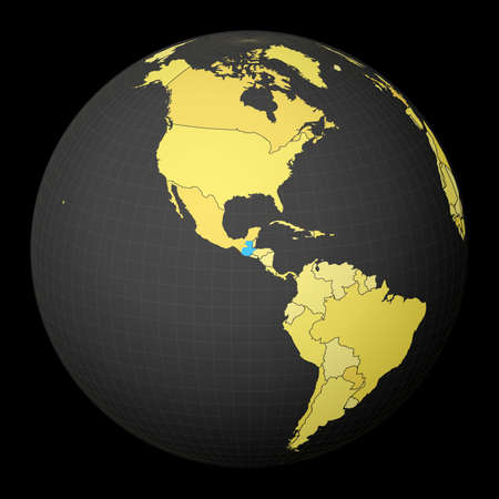Guatemala on dark globe with yellow world map. Country highlighted with blue color. Satellite world projection centered to Guatemala. Vibrant vector illustration.
