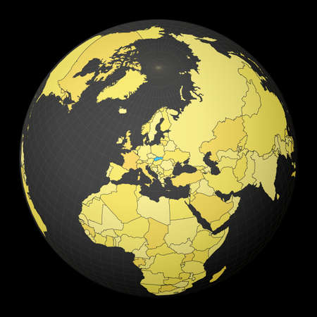 Slovakia on dark globe with yellow world map. Country highlighted with blue color. Satellite world projection centered to Slovakia. Neat vector illustration.
