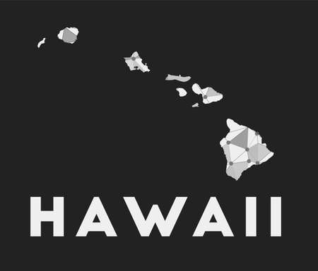 Hawaii - communication network map of island. Hawaii trendy geometric design on dark background. Technology, internet, network, telecommunication concept. Vector illustration.