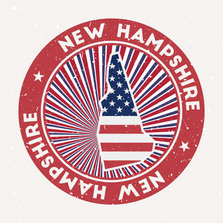 New Hampshire round stamp. Logo of us state with flag. Vintage badge with circular text and stars, vector illustration.