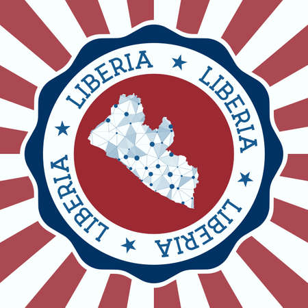 Liberia Badge. Round logo of country with triangular mesh map and radial rays