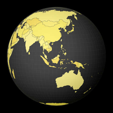 Brunei on dark globe with yellow world map. Country highlighted with blue color. Satellite world projection centered to Brunei. Appealing vector illustration.