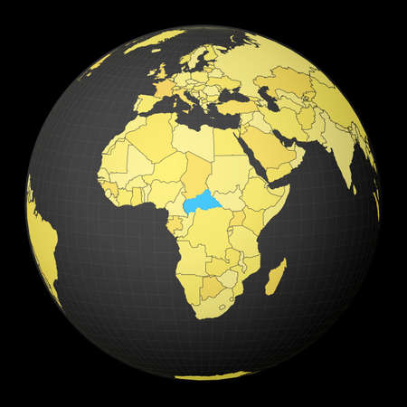 CAR on dark globe with yellow world map. Country highlighted with blue color. Satellite world projection centered to CAR. Attractive vector illustration. 向量圖像