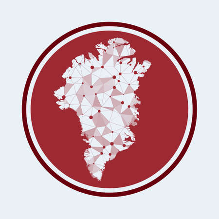 Greenland icon. Trendy tech logo of the country. Geometric mesh round design. Technology, internet, network, telecommunication concept. Vector illustration.