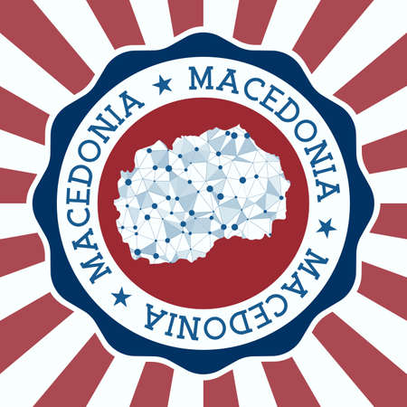 Macedonia Badge. Round logo of country with triangular mesh map and radial rays