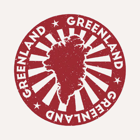 Greenland stamp. Travel red rubber stamp with the map of country, vector illustration. Can be used as insignia, logotype, label, sticker or badge of the Greenland.