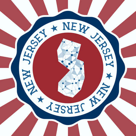 New Jersey Badge. Round logo of us state with triangular mesh map and radial rays