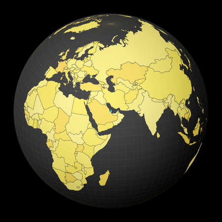 Qatar on dark globe with yellow world map. Country highlighted with blue color. Satellite world projection centered to Qatar. Vibrant vector illustration.