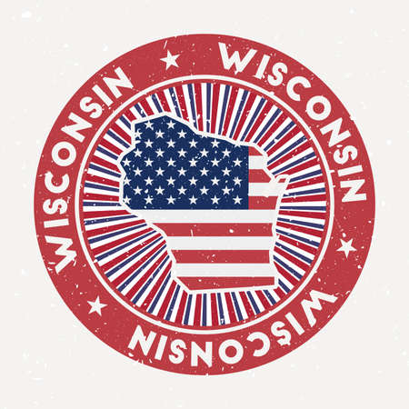 Wisconsin round stamp. Logo of us state with flag. Vintage badge with circular text and stars, vector illustration.