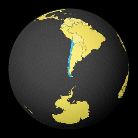 Chile on dark globe with yellow world map. Country highlighted with blue color. Satellite world projection centered to Chile. Beautiful vector illustration.