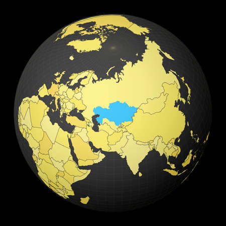 Kazakhstan on dark globe with yellow world map. Country highlighted with blue color. Satellite world projection centered to Kazakhstan. Powerful vector illustration.