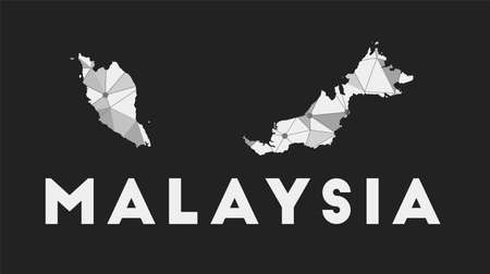 Malaysia - communication network map of country. Malaysia trendy geometric design on dark background. Technology, internet, network, telecommunication concept. Vector illustration. 向量圖像